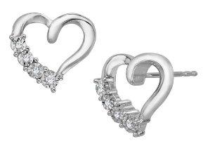 Heart Stud Earrings with Diamonds