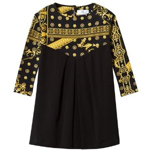 Young Versace Black and Gold Majolica Print Jersey Dress | AlexandAlexa