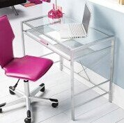 $89 Mainstays Glass-Top Desk and Desk Chair Value Bundle, Multiple Colors