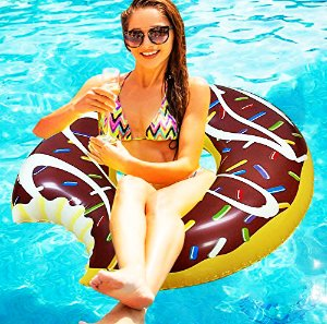 $16.99 The Gigantic 4' Foot Inflatable Chocolate Donut Pool Float Swimming Tube