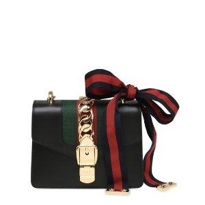 GUCCI - MINI SYLVIE LEATHER CHAIN SHOULDER BAG - SHOULDER BAGS - BLACK - LUISAVIAROMA