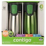 Contigo Astor 2-pack Vacuum-Insulated Autoseal Easy Clean Lid Travel Tumblers Stainless Steel / Green