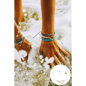 Pura Vida Gold Hammered Wishbone Bracelet in Seafoam