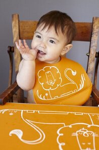 $20 modern-twist Baby Silicone Bucket Bib, Dandy Lion, Orange
