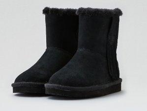 $9.99(原价$39.95)AEO Fringe Cozy 黑色雪地靴