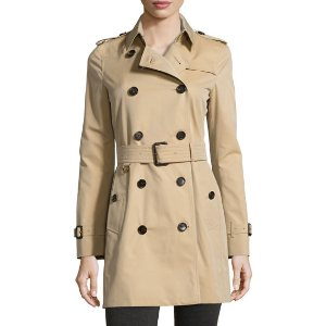 Burberry London Kensington Mid Modern-Fit Woven Trench Coat, Honey