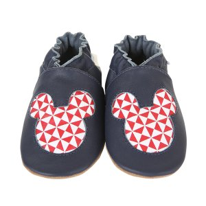 Mickey Geo Soft Soles Baby Shoes, Navy | Robeez
