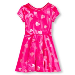 Girls Short Cap Sleeve Metallic Heart Print Velour Flare Dress | The Children's Place