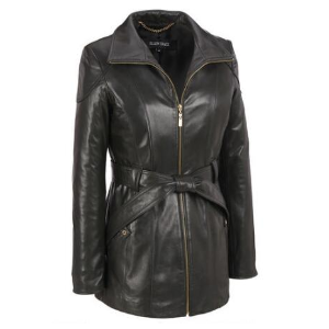 Ellen Tracy Zip Front Leather Belted Trench - View All Women's - Clearance - Wilsons Leather