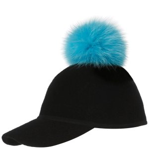 Charlotte Simone Women's Sass Cap Single Pom - Blue - One Size - Free UK Delivery over £50