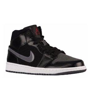 Jordan AJ1 Mid - Men's - Basketball - Shoes - Black/Gym Red/Dark Grey/White