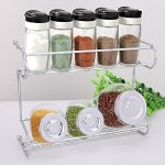 2-Tier Spice Rack, EZOWare Silver Kitchen Countertop 2-Tier Storage Organizer Spice Jars Shelf Holder Rack