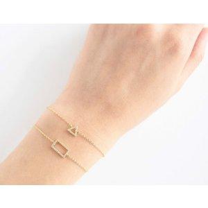 Gold Rectangle Charm Bracelet