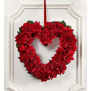 "Keepsake Red Rose Heart Shaped Wreath – 12"""
