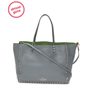 Made In Italy Rockstud Leather Reversible Tote - Handbags - T.J.Maxx
