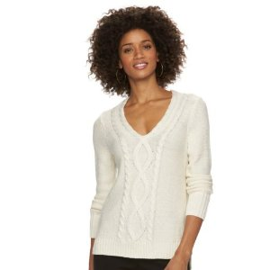 Women's Chaps Cable-Knit V-Neck Sweater