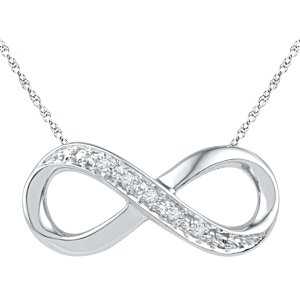 Diamond Accent Infinity Necklace in Sterling Silver - 16