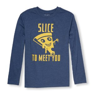Boys Long Sleeve 'Slice To Meet You' Pizza Face Graphic Tee   The Children's Place