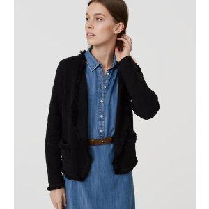 Fringe Sweater Jacket | LOFT