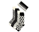 Happy Socks Men's Black & White Socks, Pack of 4