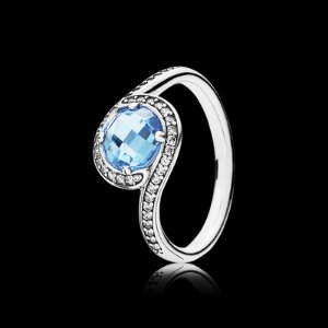 Radiant Embellishment, Sky-Blue Crystal & Clear CZ | PANDORA