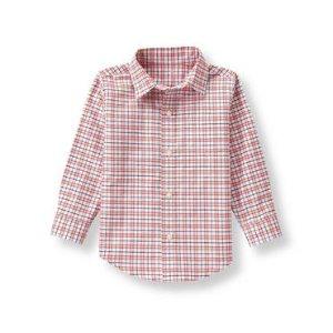 Baby Boy Deep Tangerine Plaid Plaid Oxford Shirt at JanieandJack