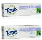 $1.53 Tom's of Maine Whole Care Fluoride Toothpaste, Peppermint, 2 Count