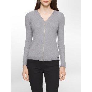 ribbed knit zip cardigan   Calvin Klein