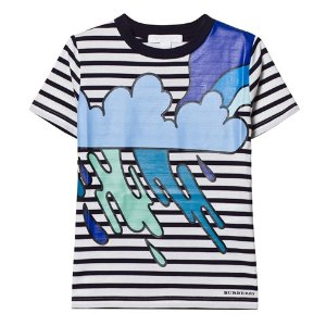 Burberry Navy and White Stripe Cloud Applique Tee | AlexandAlexa