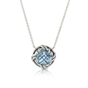 Ribbon & Reed Fantasies Blue Topaz Necklace in sterling silver