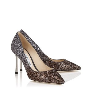 Bronze and Anthracite Coarse Glitter Degradé Pointy Toe Pumps | Romy 85 | Autumn Winter 16 | JIMMY CHOO