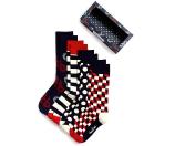 Happy Socks Men's Eternity Navy & Red Socks, Pack of 4