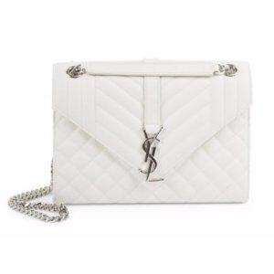 Saint Laurent Medium Monogram Tri-Quilted Leather Envelope Chain Shoulder Bag