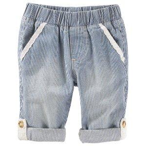 Baby Girl Pull-On Convertible Hickory Stripe Pants | OshKosh.com