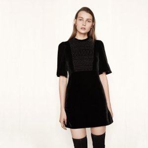 RIVIA Short velvet dress with smocking - Dresses - Maje.com