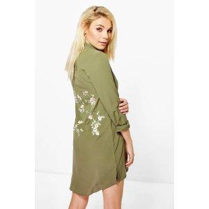 Jourdan Embroidered Back Shirt Dress