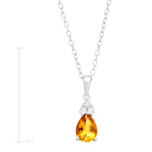 1 ct Citrine & White Topaz Pendant