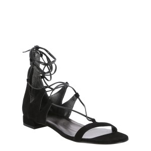 Stuart Weitzman Black Suede 'tie-Up' Gladiator Sandals (390276701) | Bluefly