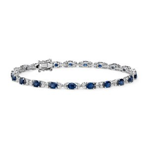 Sapphire and Diamond Bracelet in 14k White Gold (4x3mm) | Blue Nile
