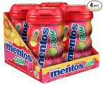 $6.82 Mentos Gum Big Bottle Curvy, Tropical Red Fruit/Lime, 50 Pieces (Pack Of 4)