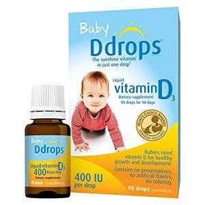 $39.89Ddrops婴儿维生素D3滴剂 400IU,90滴(2.5ml), 3盒