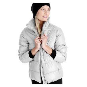 Funnel Neck Puffer Jacket in Silver from Joe Fresh