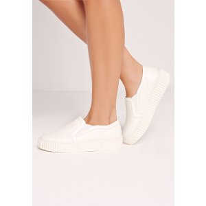 Flatform Skater Pumps White - Missguided