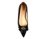 Gucci Moody Bee Leather Skimmer Bow Flats