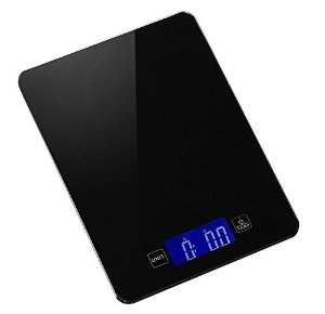 Produtrend Sleek-weigh Ultrathin Glass Top Kitchen Scale, High Precision Strain Gauge and Tarring Technology, Sensitive Touch Buttons, 5kg/11lbs