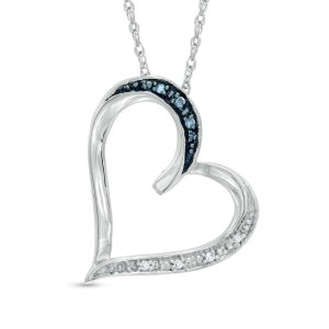 Enhanced Blue and White Diamond Accent Tilted Heart Pendant in Sterling Silver - Save on Select Styles - Zales