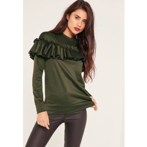 Khaki Frill Detail Sweatshirt - Missguided