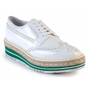 Prada Leather Creeper Brogue Espadrilles