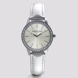 Silver Leather Round Stone Watch | Kenneth Cole