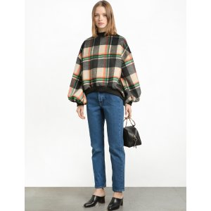 Plaid Balloon Sweatshirt